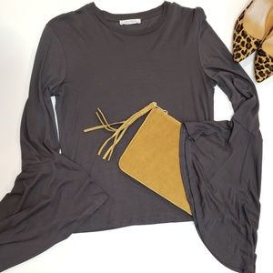 EUC》Zara Trafaluc Knit Smoky Grey Bell Sleeve Top